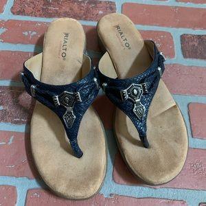Rialto Comfort Navy Woven Flip Flop Sandals